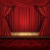 Concepto del vector del teatro, escena clásica con las cortinas stock de ilustración