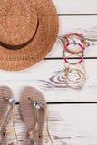 Concepto del verano, accesorios de la playa Foto de archivo libre de regalías