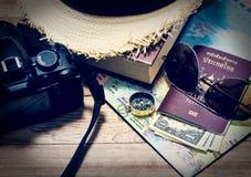 Concepto del viaje con el accesorio Imagen de archivo