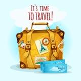 Concepto del viaje con la maleta ilustración del vector