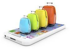 Concepto del viaje con smartphone Imagenes de archivo