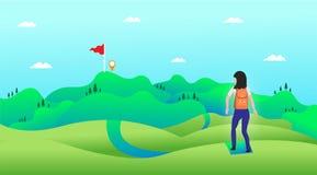 Concepto del viaje, el viaje hacia el trabajo del destino sobre un fondo colorido stock de ilustración