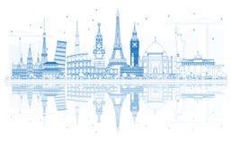 Concepto del viaje del esquema en todo el mundo con famoso libre illustration
