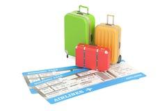 Concepto del viaje, maletas con los boletos representación 3d Imagen de archivo libre de regalías