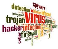 Concepto del virus en nube de la etiqueta Imagenes de archivo