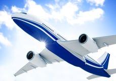 Concepto del vuelo de Mid Air Cloudscape del aeroplano foto de archivo libre de regalías