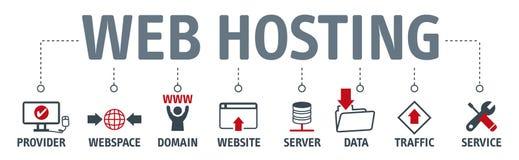 Concepto del web hosting de la bandera con los iconos ilustración del vector