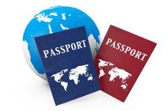 Concepto del World Travel. Tierra y pasaportes Imagen de archivo