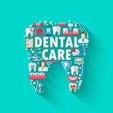 Concepto dental del fondo de la bandera con los iconos planos aislados Ejemplo del vector, odontología, ortodoncia Sano limpie stock de ilustración