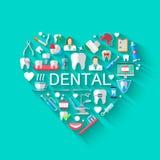 Concepto dental del fondo de la bandera con los iconos planos aislados Ejemplo del vector, odontología, ortodoncia Sano limpie libre illustration