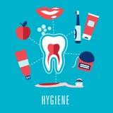 Concepto dental plano de la higiene en fondo azul Foto de archivo