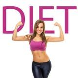 Concepto deportivo apto de la dieta de la mujer joven Fotografía de archivo