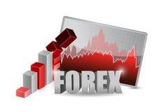 Concepto descendente del ejemplo del negocio de las divisas stock de ilustración