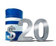 Concepto descendente del precio del petróleo como barril de petróleo y de muestra de dólar con precios decrecientes del precio en Imagenes de archivo