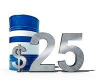 Concepto descendente del precio del petróleo como barril de petróleo y de muestra de dólar con precios decrecientes del precio en Imagen de archivo