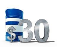 Concepto descendente del precio del petróleo como barril de petróleo y de muestra de dólar con precios decrecientes del precio en Fotografía de archivo