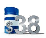 Concepto descendente del precio del petróleo como barril de petróleo y de muestra de dólar con precios decrecientes del precio en Fotografía de archivo libre de regalías