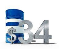 Concepto descendente del precio del petróleo como barril de petróleo y de muestra de dólar con precios decrecientes del precio en Fotos de archivo libres de regalías