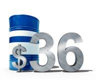 Concepto descendente del precio del petróleo como barril de petróleo y de muestra de dólar con precios decrecientes del precio en Imágenes de archivo libres de regalías