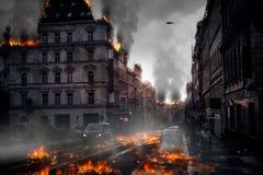 Concepto destruido de la ciudad Ejemplo de Digitaces Imagen de archivo libre de regalías