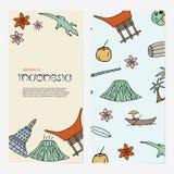 Concepto dibujado mano con símbolos de Indonesia ilustración del vector