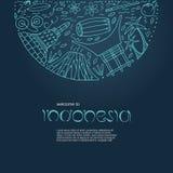 Concepto dibujado mano con símbolos de Indonesia stock de ilustración