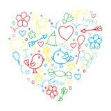 Concepto dibujado mano romántica del vector del garabato en amor con los pájaros y Fotografía de archivo