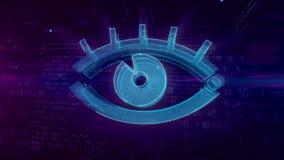 Concepto digital de espionaje cibernético con el ojo del espía stock de ilustración