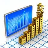 Concepto digital del gráfico de Goldbars Foto de archivo