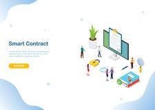Concepto digital electrónico isométrico del contrato para la plantilla de la página web que aterriza la bandera del homepage con  ilustración del vector