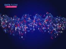 Concepto dinámico de la tecnología de las ondas Fondo abstracto del flujo de datos con código de las letras Foto de archivo