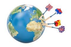 Concepto diplomático y político global de la blanco, representación 3D libre illustration