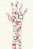 Concepto disponible de la dimensión de una variable de los media de los iconos sociales de los adminículos