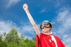 Concepto divertido del niño del superhéroe del poder Imagen de archivo libre de regalías