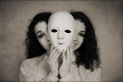 Concepto doble de la depresión maníaca de la mujer Imagen de archivo libre de regalías