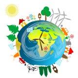 Concepto ecológico con el globo de la tierra Imagen de archivo