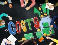 Concepto económico de la inversión del presupuesto en capitales de los costes Foto de archivo libre de regalías