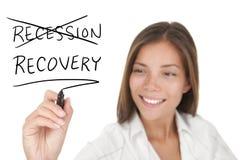 Concepto económico de la recesión y de la recuperación Fotografía de archivo libre de regalías