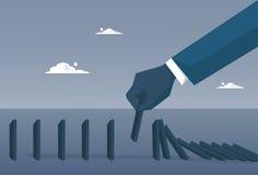 Concepto económico descendente de la crisis del fall de la barra de la carta de la mano del hombre de negocios stock de ilustración