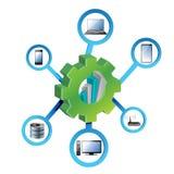Concepto electrónico de la red de los engranajes industriales Imágenes de archivo libres de regalías