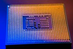 Concepto electrónico de la tecnología ordenador del espolón de la CPU en el li azul Foto de archivo
