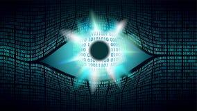 Concepto electrónico del ojo del hermano mayor, tecnologías para la vigilancia global, seguridad de los sistemas informáticos ilustración del vector