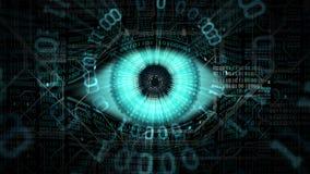 Concepto electrónico del ojo del hermano mayor, tecnologías para la vigilancia global, seguridad de los sistemas informáticos y r