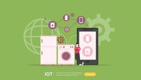 Concepto elegante de la supervisi?n de la casa de IOT para 4 industriales tecnología remota de los dispositivos en el app de la p ilustración del vector