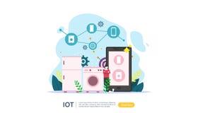 Concepto elegante de la supervisi?n de la casa de IOT para 4 industriales tecnolog?a remota de los dispositivos en el app de la p stock de ilustración
