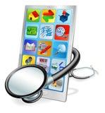 Concepto elegante de la verificación de salud de la PC del teléfono o de la tablilla stock de ilustración