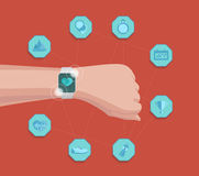 Concepto elegante del deporte de la aptitud del reloj del vector Tecnología usable Información de seguimiento del app de la panta Imágenes de archivo libres de regalías