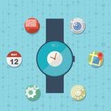 Concepto elegante plano del reloj con los iconos Fotografía de archivo libre de regalías