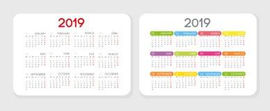 Concepto elegante sucinto vertical 2019 del calendario del bolsillo Se presentan dos opciones Primera opción en estilo clásico es libre illustration