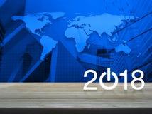 Concepto 2018, elementos de la Feliz Año Nuevo de esta imagen equipados cerca Imágenes de archivo libres de regalías